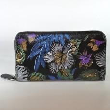 Жіночий шкіряний гаманець Магнолія фіолетова