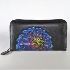 Гаманець жіночий шкіряний ручної роботи Zinnia Blue чорний