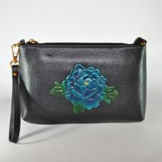 Сумка жіноча ручної роботи Троянда синя