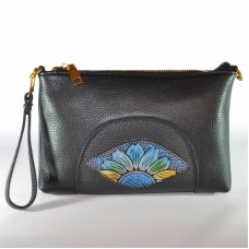 Сумка женская ручной работы Солнечный цветок Dark Blue черная