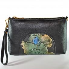Сумка женская ручной работы цветок синий