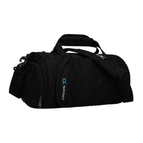Спортивна сумка-бочонок IX 8036 з відділом для взуття чорна