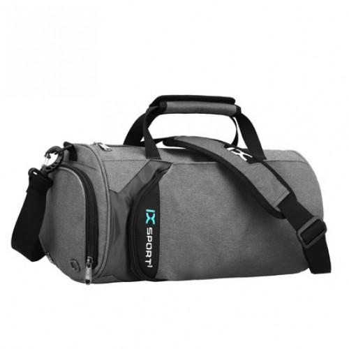 Спортивна сумка-бочонок IX 8036 з відділом для взуття сіра