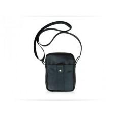 Мужская кожаная сумка Messenger black bag W040 чёрная