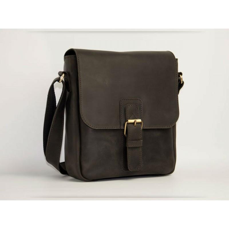 d0d3cb0546f8 Мужская кожаная сумка Wellbags Messenger Arcturus gray (W054) коричневая