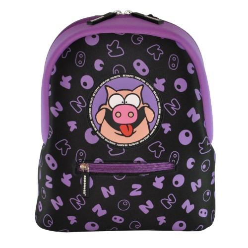 Дошкольный рюкзак KOKONUZZ-BE HAPPY со свиньей черно-фиолетовый