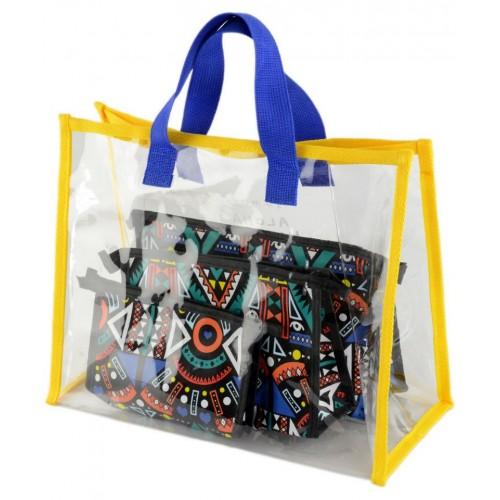 Жіноча пляжна прозора сумка і набір косметичок TRAUM (7241-33) синя з жовтим
