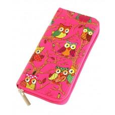 Бумажник TRAUM 7201-65 малиновый совы