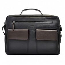 Портфель мягкий кожа BOND 1120-281-2 черный-коричневый