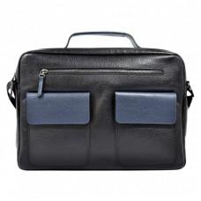 Портфель мягкий кожа BOND 1120-281-9 черный-синий