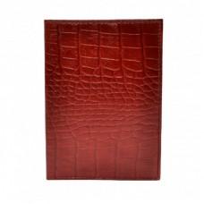 Обложка кожа паспорт лак 002-85 красный кроко