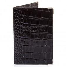 Обложка паспорт кожа Desisan-11 черный кроко