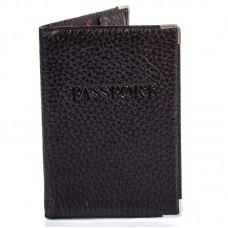 Обложка паспорт кожа Desisan-011 черный флотар