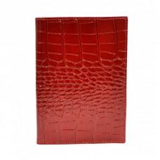 Обложка кожа паспорт лак 002-142 красный кроко лак