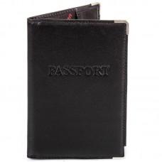 Обложка паспорт кожа Desisan-1 черный гладкий