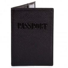 Обложка кожа паспорт мат. 003-127 черный мелкий флотар