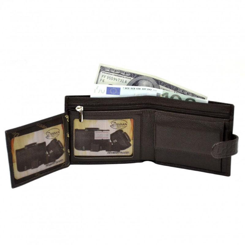 64e9045df3fa Портмоне кожаное Desisan 087-19 коричневый кроко | Продажа, обзор ...