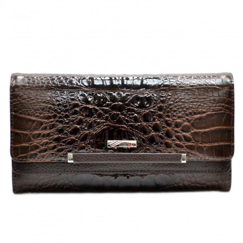 9e19f113eba5 Кошелек женский кожаный Desisan 724-581 коричневый кроко лак ...