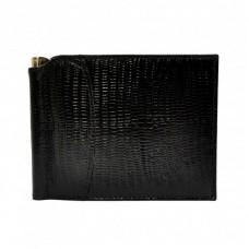 Портмоне с зажимом кожаный CANPEL 070-8 черный лазер