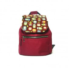 Бордовый рюкзак с совами small TWINSSTORE Р25