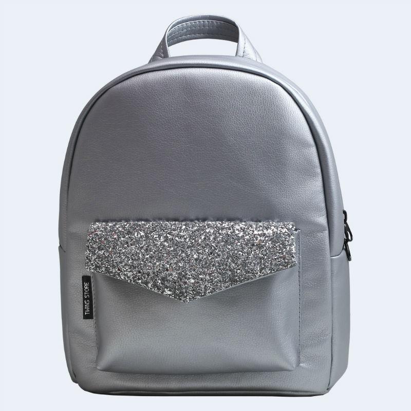 96e9b1f85550 Серебряный кожаный рюкзак silver TWINSSTORE Р80 купить в Киеве ...