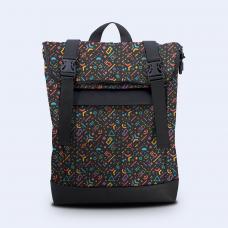Рюкзак Rolltop medium черная абстракция Р102 черный