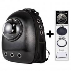 Рюкзак-переноска с иллюминатором U-Pet для кошек и небольших собак матовый черный