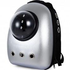 Рюкзак-переноска с иллюминатором U-Pet для кошек и небольших собак  серебристый металлик