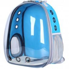 Прозрачный водонепроницаемый рюкзак-переноска для кошек и собак U-Pet голубой
