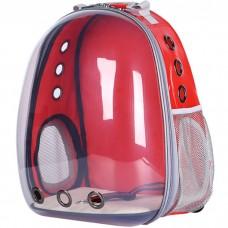 Прозрачный водонепроницаемый рюкзак-переноска для кошек и собак U-Pet красный