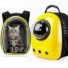 Рюкзак-переноска с иллюминатором U-Pet для кошек и небольших собак желтый