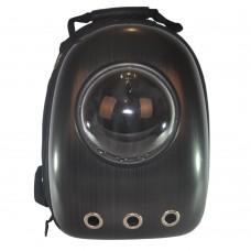 Рюкзак-переноска с иллюминатором U-Pet для котов и небольших собак черный полоски