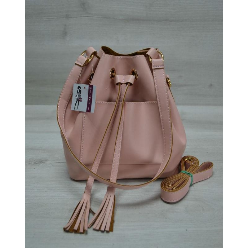 db5d2aa743e8 Молодежная сумка Welassie из эко-кожи Люверс пудрового цвета 23106 ...