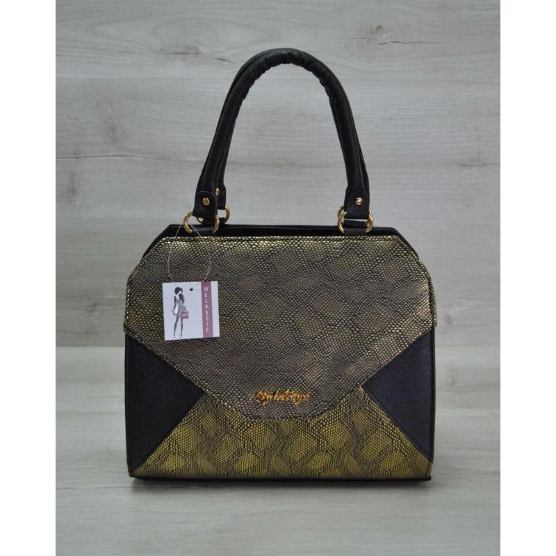 55fec352a239 Женская сумка Конверт черная с золотом 31805 Welassie купить в Киеве ...