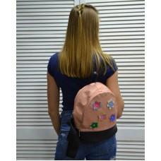 Молодежный рюкзак «Цветочки» пудрового цвета 42302