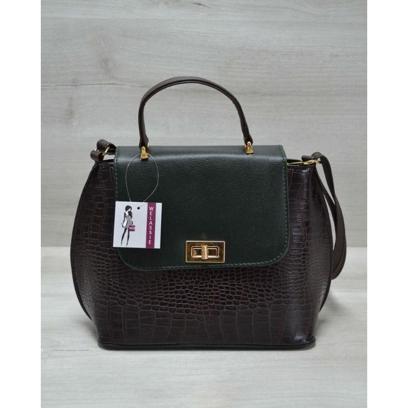 88319f511f0e Молодежная женская сумка-клатч Welassie коричневый крокодил с зеленым  гладким 61411