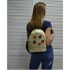 Молодежный рюкзак «Цветочки» бежевого цвета 42301