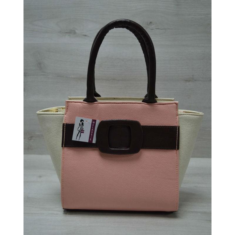 50ff003becef Молодежная женская сумка Welassie Комбинированная пудрового цвета с  коричневым ремнем 52209
