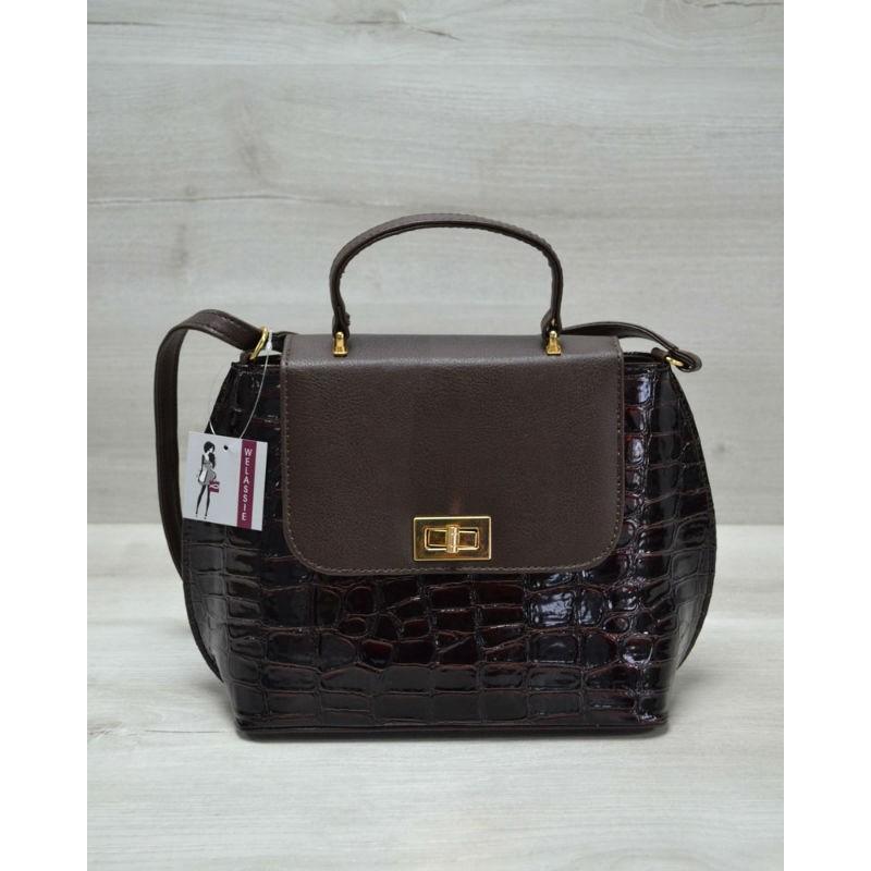 Молодіжна жіноча сумка-клатч Welassie коричневий лаковий крокодил 61410 72df57cb33106