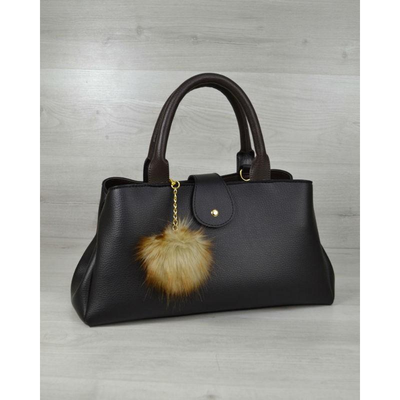 0157fbfa0b85 Молодежная сумка Welassie «Альба» черная с коричневым 54803 купить в ...