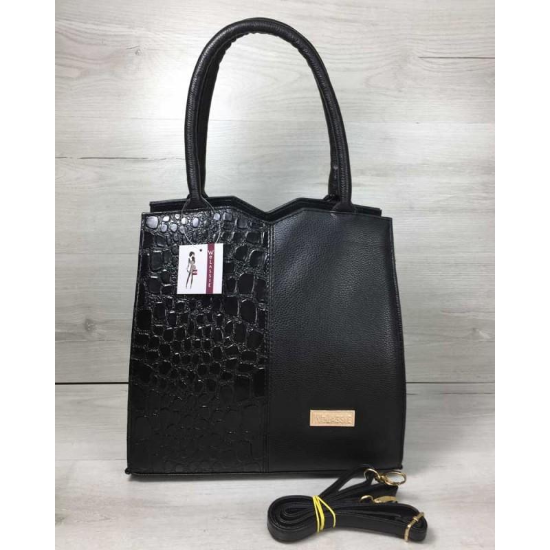 de2b42dd32ff Классическая женская сумка Welassie Треугольник черного цвета с черным  лаковым крокодилом 31714