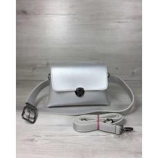 Женская сумка на пояс-клатч Welassie Белла серебряного цвета 60611