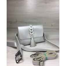 Женская сумка на пояс-клатч Welassie Белла серебряного цвета с плетением и кисточкой 60631