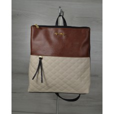 Молодежный рюкзак Welassie черного цвета с бежевыми кубиками 43004