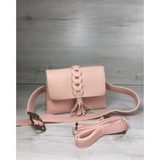 Женская сумка на пояс-клатч Welassie Белла пудрового цвета с плетением и кисточкой 60630