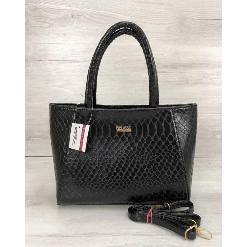 903f5150e797 Женская сумка Welassie черная кобра 55607 купить в Киеве недорого