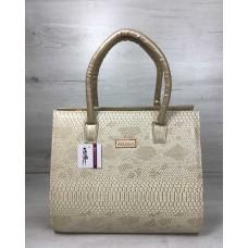 6a892313e989 Женская сумка бочонок Welassie золотого цвета со вставкой бежевая рептилия  31614
