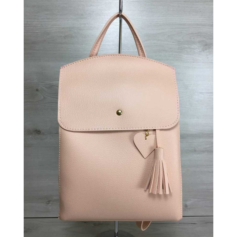 77ed15023c8b Молодежный сумка-рюкзак Welassie Сердце пудрового цвета 44610 купить ...