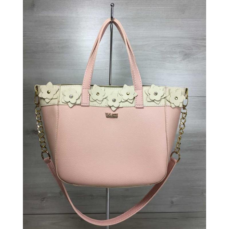 287abf26dd67 Женская сумка Welassie Дарина пудрового с бежевым цвета 55510 купить ...