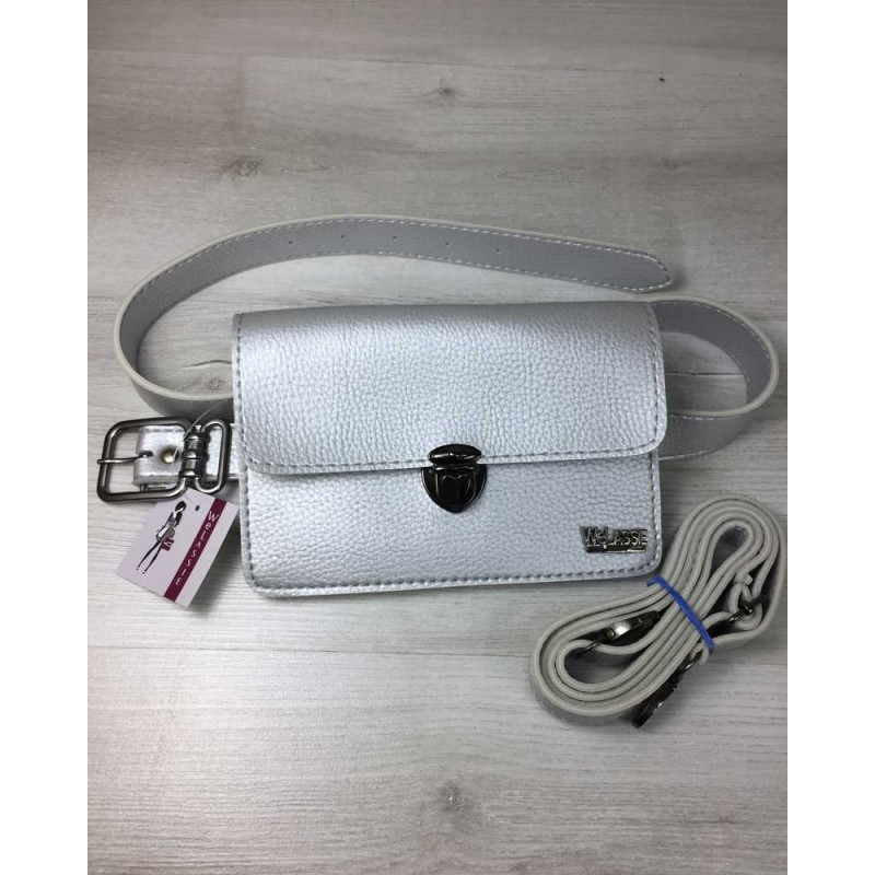 34c61afd493f Женская сумка на пояс-клатч Welassie Арья серебряного цвета 60411 ...